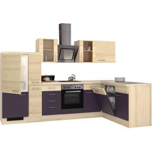 Winkelküche mit Elektrogeräten Eck Küche Küchenzeile L Form 310x170 cm aubergine