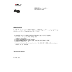 LINDY 3G SDI Splitter 4 Port (1:4)