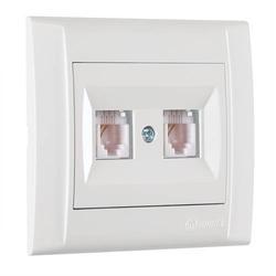 Defne Doppel Netzwerkdose 2x Cat 3 + Rahmen, VDE Zertifiziert, Unterputz, in weiß