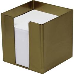 Zettelbox 9,5x9,5x9,5cm 700 Blatt weißes Papier gold