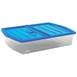 KIS Spinning Box Unterbettbox XL, Unterbettbox mit Rollen, Farbe: blau-transluzent-transparent