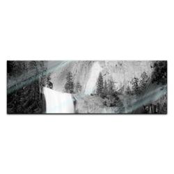 Bilderdepot24 Glasbild, Glasbild - Wasserfall III 90 cm x 30 cm