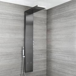 Thermostat Duschpaneel mit Wasserfall-Regendusche & Massagedüsen in Dunkelgrau - Dusk