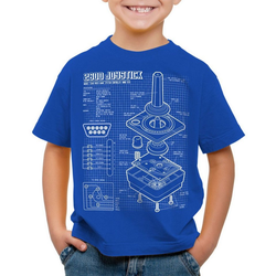 style3 Print-Shirt Kinder T-Shirt 2600 VCS Computer Blaupause 80er Joystick 8-Bit retro gamer blau 164