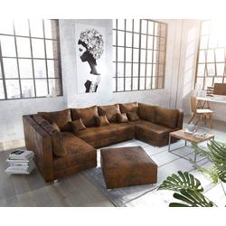 DELIFE Wohnlandschaft Panama, Braun mit Hocker Wohnlandschaft modular braun 315 cm x 80 cm x 160 cm