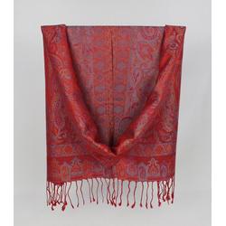 ZEBRO Pashmina Seiden-Pashmina-Schal mit Ornamenten rot