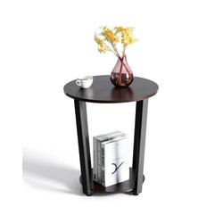 COSTWAY Beistelltisch Beistelltisch, mit Metallgestell, mit Ablage Industrie braun 50 cm x 50 cm
