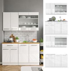 Vicco Küchenzeile Single Einbauküche 140 cm Küchen Hochglanz Fame-Line