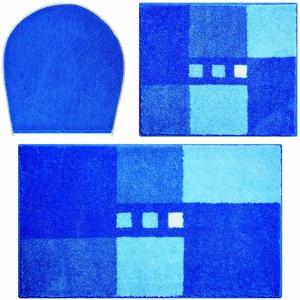Linea Due Badteppich 100% Polyacryl, ultra soft, rutschfest, ÖKO-TEX-zertifiziert, 5 Jahre Garantie, MERKUR, Set 3-teilig m.A. 3 SET, blau