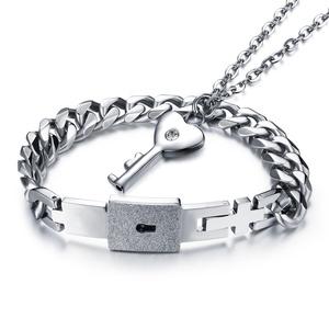 J.May Concentric Lock Paar Armbänder Halskette Set,Hypoallergene Titanium Steel Panzerkette Bangle Kubanische Kette Männer und Frauen Schmuck - Silber