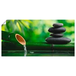 Artland Wandbild Bambusbrunnen und Zen-Stein, Zen (1 Stück) 60 cm x 30 cm