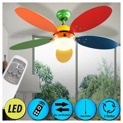 etc-shop Deckenventilator, Decken Ventilator Fernbedienung Kühler Lampe bunt im Set inkl. LED Leuchtmittel und Fernbedienung