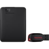Western Digital Elements Portable 1TB + USB Flash Drive