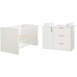 roba® Babymöbel-Set Sylt, (Spar-Set, 2-St), mit Kinderbett & Wickelkommode; Made in Europe weiß