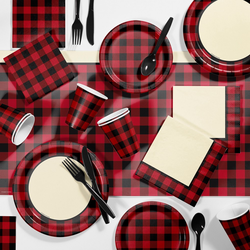 81pk Buffalo Plaid Party Supplies Disposable Dinnerware Set Red/Black