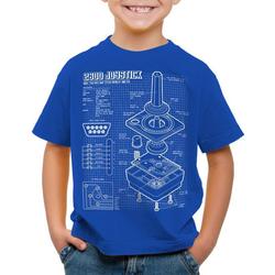 style3 Print-Shirt Kinder T-Shirt 2600 VCS Computer Blaupause 80er Joystick 8-Bit retro gamer blau 140