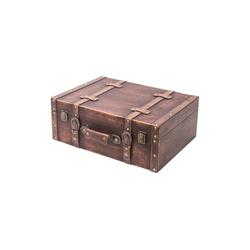 HMF Aufbewahrungsbox Vintage Koffer, aus Holz, Deko Klassik, 44 x 32 x 16 cm