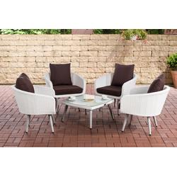 CLP Gartenmöbelset Ameland Flachrattan Sitzhöhe 40 cm, Set aus Polyrattan mit 4x Sessel & Glastisch weiß