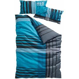 H I S Philip Linon blau 135 x 200 cm + 40 x 80 cm