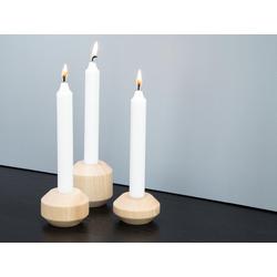 kommod Kerzenständer TAKKS (3er Set), Gedrechselte Holz Kerzenständer – 7 x 7 cm, Kerzendurchmesser 2,2 cm – Esche massiv natur