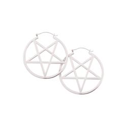 Wildcat Paar Ohrhänger Ohrringe Silver Pentagram Hoops