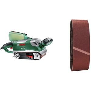 Bosch Bandschleifer PBS 75 AE Set (750 Watt, im Koffer) + Schleifband-Set 9tlg. (verschiedene Materialien)