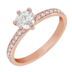 Verlobungsring aus Gold mit Diamant im Solitär-Pave Stil Vanan