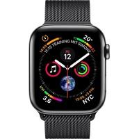 Apple Watch Series 4 (GPS + Cellular) 40mm Edelstahlgehäuse schwarz mit Milanaise Armband schwarz