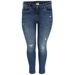 5-Pocket Jeans mit gefransten Löchern Doris Streich jeansblau