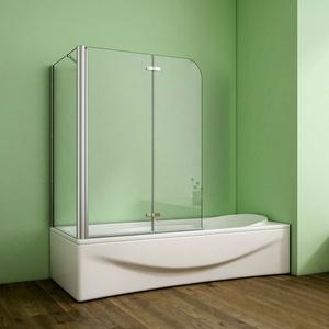 Nano Glas-badewannenaufsatz Duschabtrennung 2-tlg. Faltwand Duschwand Echtglas