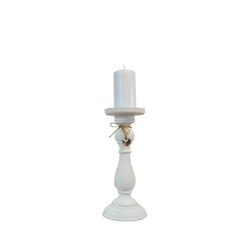 elbmöbel Kerzenständer Kerzenständer Herz weiß, Kerzenständer: weiß 11x27x11 cm klassisch Landhausstil weiß 11 cm x 27 cm x 11 cm