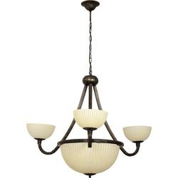 Licht-Erlebnisse Kronleuchter BARON Kronleuchter Wohnzimmer Creme Braun Antik Metall Glas Vintage Lampe