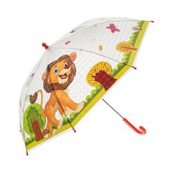 Idena Taschenregenschirm Kinderschirm transparent Löwe, 83 x 66 cm
