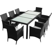 vidaXL Garten-Essgruppe 9-tlg. Tisch 190 x 90 cm schwarz 43118