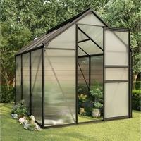 vidaXL Gewächshaus Alu anthrazit HKP 4 mm 3,61 m2