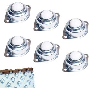 Kugelrollen, 6 Stück Nylon Möbelrollen, Kugelrollen für Möbel, Kegelrollenlager mit Bodenflansch Montagelöcher, Transfer Einheiten für Förderbändern Montierte Wälzlager(Nylon Ball)