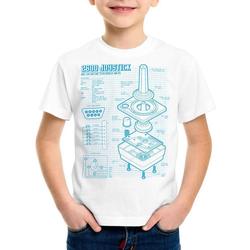 style3 Print-Shirt Kinder T-Shirt 2600 VCS Computer Blaupause 80er Joystick 8-Bit retro gamer weiß 128