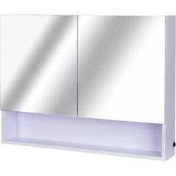 HOMCOM LED Wandspiegelschrank weiß 80 x 50 x 15 cm (LxBxH)   Badspiegel LED Lichtspiegel Badezimmerspiegel