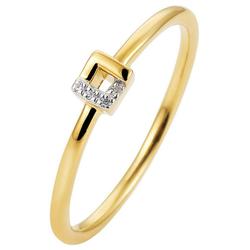 JOBO Diamantring, schmal 585 Gold bicolor mit 4 Diamanten 58