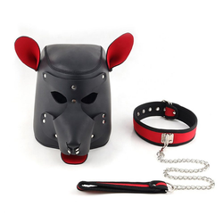 Sandritas Erotik-Maske Hundemaske Bondagemaske Dogplay Petplay Maske Hund Bondage BDSM SM, Größe: Einheitsgröße, Umfang Halsband: 44 bis 54 cm, Länge Leine: 66 cm