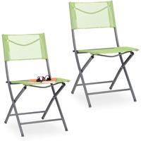 Relaxdays Klappstuhl 45 x 60 x 85 cm grün 2 St.