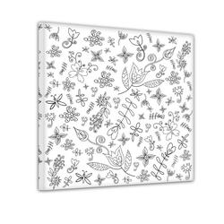 Bilderdepot24 Wandbild, stilisierte Blumen - Ausmalbild 30 cm x 30 cm