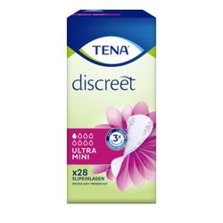 TENA Discreet Ultra Mini Slipeinlagen, Hygieneeinlagen bei leichter Blasenschwäche & gelegentlichem Tröpfeln, 1 Karton = 10 x 28 Slipeinlagen = 280 Slipeinlagen