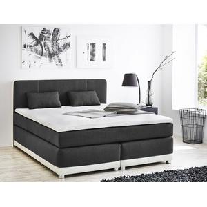 expendio Boxspringbett 180x200 grau weiß mit Topper und Kissen Doppelbett Hotelbett Komfortbett Bett 10611