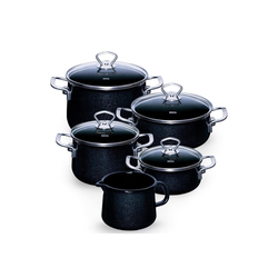 Riess Topf-Set Topfset Familienset 5-teilig BLACK MAGIC, Emaille, (5-tlg), Topfset