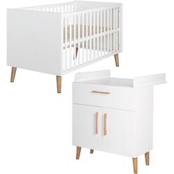roba® Babymöbel-Set Mick, (Spar-Set, 2-St), mit Kinderbett und Wickelkommode
