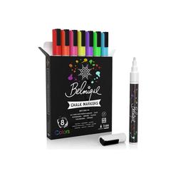 Belmique Kreidemarker, (8-tlg), Ideal als Kreidestift, Glasmalstifte, Folienstifte, Tafelstift, Glasmarker & Whiteboard Marker - Trocken Abwischbar