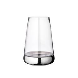EDZARD Windlicht Bora, Kerzenhalter aus Glas mit Silber-Optik, Laterne für Stumpenkerzen, Höhe 31 cm, Ø 22 cm