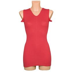 Rotes Korsetthemd ohne Arm mit rundem V-Ausschnitt und Flügeln