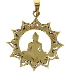 Guru-Shop Kettenanhänger Amulett `Buddha` Kettenanhänger aus Messing